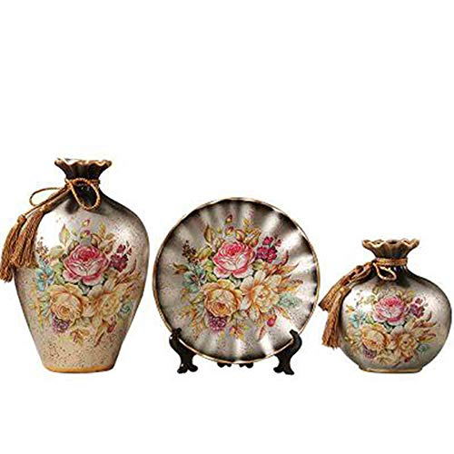 Ceramic Vases Set of 3 Piece,Chinese Classical Vases for Home Decor,for Living Room and Office,Best Gift and Artware,Hundred Flowers Contend
