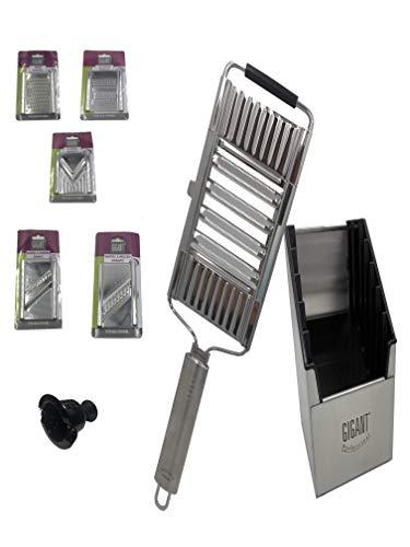 portabest-gigant Multihobel mit 5 extra Einsätzen + Restehalter | Multibox (Silber) Krauthobel | Küchenreibe| Edelstahl