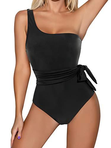 RXRXCOCO Women One Shoulder Bathing Suit Side Bandage Bowknot Tummy Control One Piece Swimsuit Swimwear Black Medium