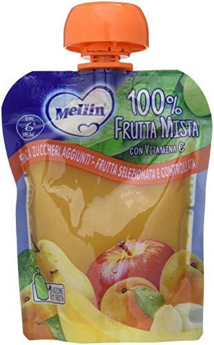 Mellin, Pouch Merenda 100% Frutta Mista con Vitamina C - 6 Confezioni da 90 gr