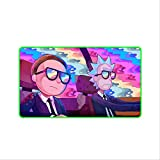 a50 Teclado Alfombrilla Gaming RGB Anime Rick Y Morty Juego De Velocidad De Bloqueo De Gran Tamaño Gamer Gaming RGB Led Mouse Pad Soft Laptop Notebook Mat para Csgo LOL Espesor 4 mm 600x350mm