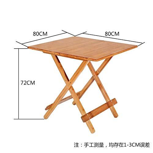 DX Vouwtafel Bamboe Vouwen Huishoudelijke Vierkante Tafel Buiten Draagbaar Massief Hout 90Cm