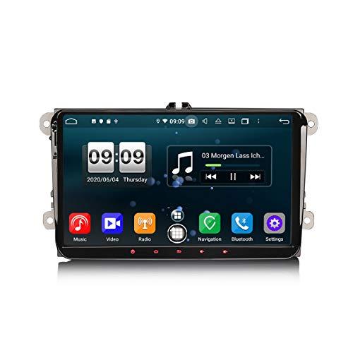 ERISIN 9 Zoll Android 10.0 Autoradio für VW Golf Passat Tiguan Seat Skoda Caddy Unterstützt GPS-Navi Carplay Android Auto DSP Bluetooth A2DP DVB-T/T2 WiFi DAB+ 8-Kern 4GB RAM+64GB ROM