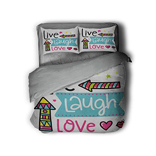 Live Laugh Love Extra Large Quilt Cover Lively Colors Cartoon Arrows with Geometric Shapes Kiss Hearts Phrase Print Can be Used as a Quilt Cover-Lightweight (Full) Multicolor
