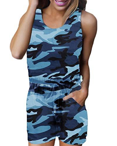 Auxo Damen Ärmellos Kurz Rundhals Jumpsuit Camouflage Playsuit Sommer Strand Einteiler C-blau Camouflage Large