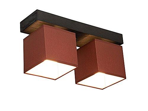Plafonnier design Wero - Couleur : marron clair - Convient pour ampoules LED et anciennes ampoules E27 - Montage facile - 2 ampoules en bois / placage chêne / tissu - Modèle : Vigo-016B
