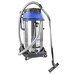 Hyundai HYVI10030 3000 Watt Triple Motor 3 In 1 Heavy Duty Multi Purpose 100 Litre Wet & Dry Electric Vacuum Cleaner With Blower Function, Stainless Steel Tank, HEPA Filtration, Blue, Silver