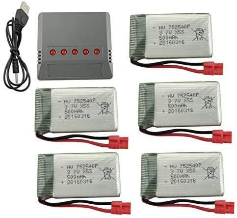 ZYGY Lipo Batterie 3,7V 500mAh x5+ 5 in 1 Batteria Caricabatterie per SYMA X5HW X5HC RC Quadcopter Drone Batteria