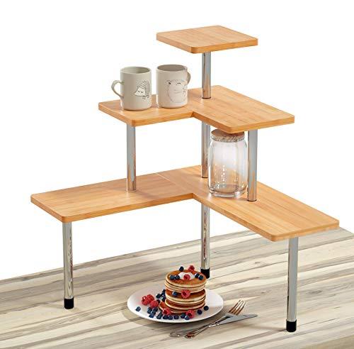 Ollieroo Compact Kitchen Counter Organizer, 3 Tier Multiple Combinations Corner Shelf Bathroom Countertop Storage Rack