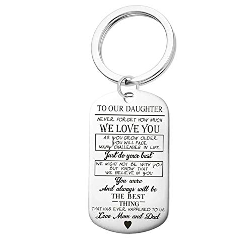 Anwaz Stainless Steel Dog Tag to Our Son Daughter Keyring Car Key Ring Silver Daughter