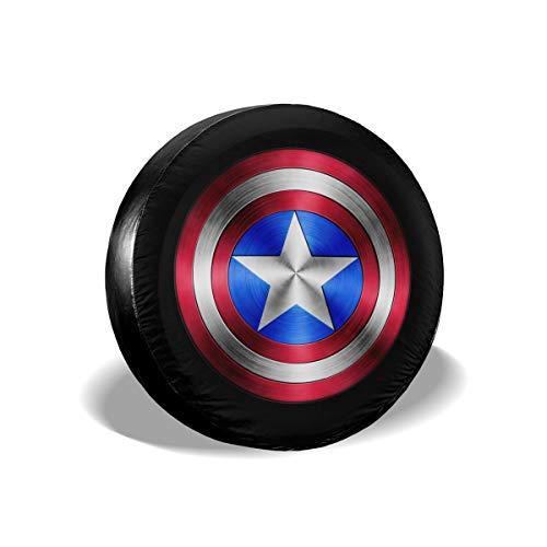 "DEETU Captain America Shield Spare Tire Cover, Universal Fit for Jeep, Trailer, RV, Car, Truck Wheel 16"""