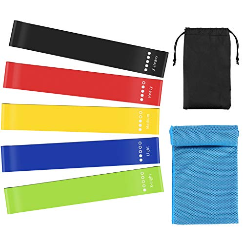 PEMOTech Resistance Bands for Women Butt and Legs,Exercise Loop Bands Fitness Bands with Sports Cooling Towel, Workout Guide,Carrying Bag,The Best Elastic Bands for Pilates and Strength at Home Gym