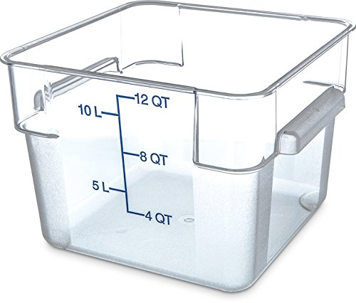 Carlisle 1072407 StorPlus Stackable Square Food Storage Container, 12 Quart Capacity, Clear (Pack of 6)