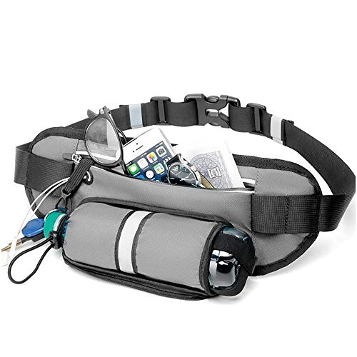 UBIQUMOON Running Belt with Water Bottle Holder for Men and Women, Hydration Waist pack for Hiking Running Workout Fitness Cycling Camping Marathon Walking the Dog, Reflective Fanny pack with Headphone Hole Grey
