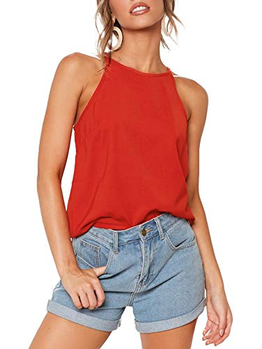 THANTH Womens Tops Halter Sleeveless Tank Tops Sexy High Neck Summer Cami Tops Spaghetti Strap Shirts Casual Racerback Tops Basic Cute Junior Shirts Tops Blouses Tomato S Orange Red
