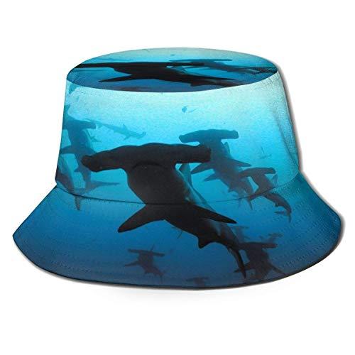 Sombrero de pescador de tiburones con cabeza de martillo, estampado en 3D, reversible, con solapa, duradero, ligero, portátil, para proteger los ojos, para deportes, golf, jardinería, barco, playa