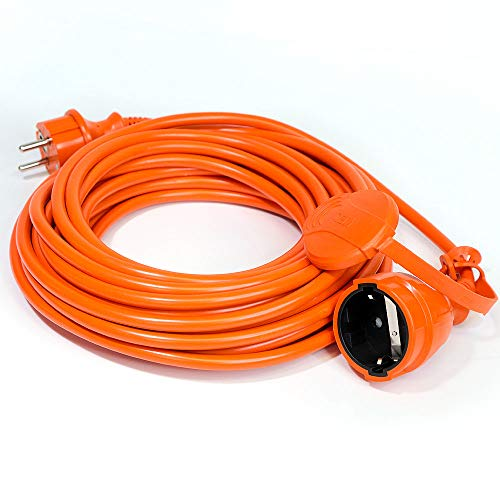 Cable alargador para cortacésped (10 m), color naranja