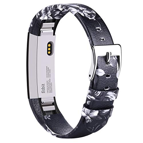 Vancle für Fitbit Alta Alta HR Armband, Leder Uhrenarmband Anpassbare Bequemen Fitbit Alta Ersatz armbänder mit Edelstahl Schnalle (Kein Tracker) (Grey Flower)