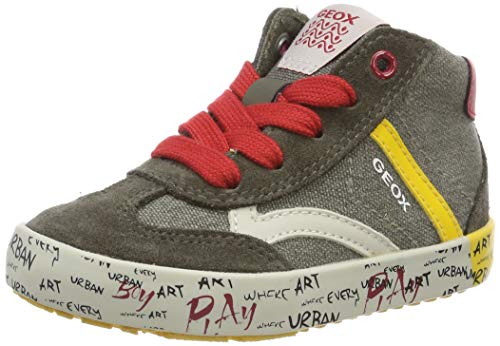 Geox Baby Jungen B Kilwi Boy E Sneaker, Grün (Olive/Yellow C3734), 22 EU