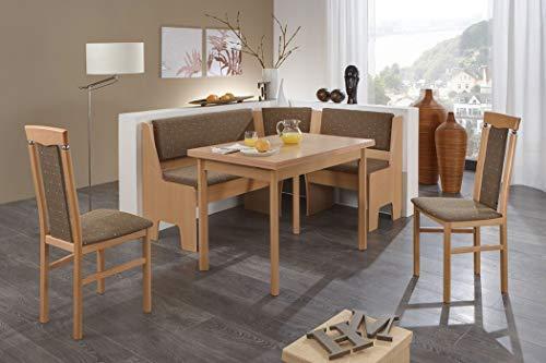 expendio Eckbankgruppe Milea Buche Natur Dekor 165x125 cm 2X Stuhl Esstisch Ausziegtisch Eckbank Essgruppe Truhenbank Esszimmer Küche Tisch