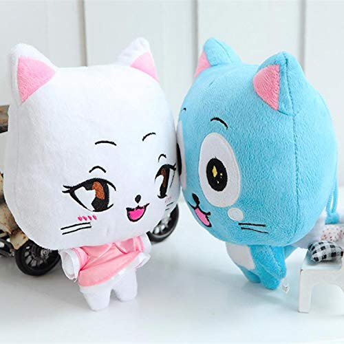 shenlanyu Juguete de Peluche 2 Unids / Lote 23 Cm Anime Fairy Tail Happy & Charles Peluches Kawaii Happy & Charles Cat Peluches Muñeca Figura Juguetes para Niños Regalos