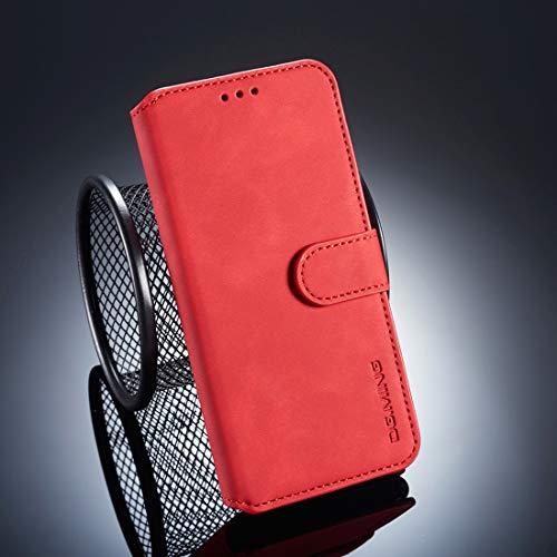 BEIJING ♋ PROTECTIVECOVER + Caja de Flip Horizontal Lateral de Aceite Retro for Huawei P20, con Soporte y Ranuras Tarjeta y Billetera De Caja de protección de la Moda (Color : Rojo)