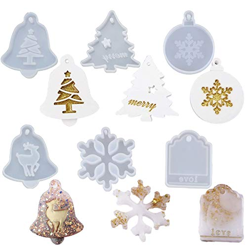 6PCS Christmas Resin Molds for Christmas Ornament, Coaster Casting, Resin Pendant Mold with Hanging Hole, Jewelry Making, Snowflake, Xmas Tree, Elk, Bell, Tag Pattern