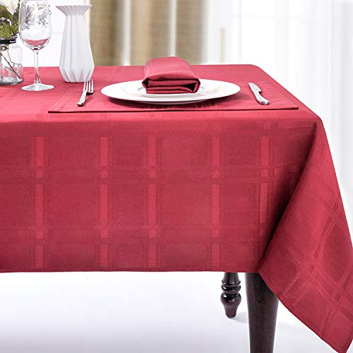 JUCFHY Christmas Soild Plaid Jacquard Table Cloth Elegance Wrinkle Resistant Contemporary Woven Decorative Washable Tablecloth, Spillproof Soil Resistant Holiday Tablecloth, 60 X 84, Wine Red