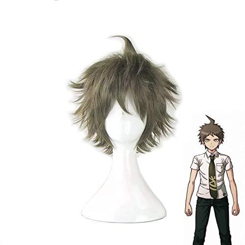 LJYNB Super Dangan Ronpa 2 Danganronpa Hajime Hinata peluca corta Cosplay disfraz de lino gris corto pelucas de pelo sinttico resistentes al calor