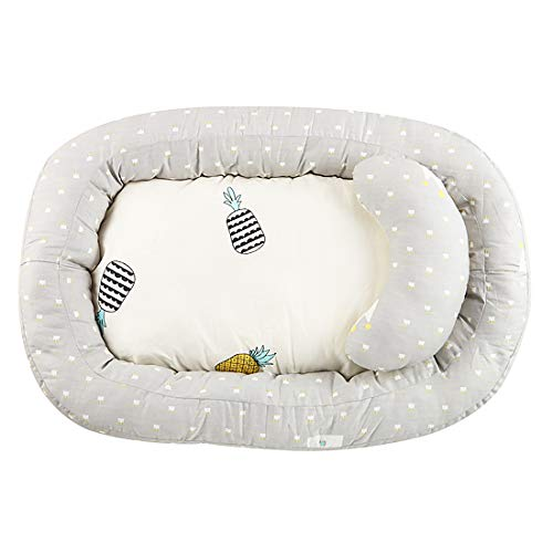 BUDBYU Cama Nido de Bebé Recién Recién Nacido Tumbona Cubierta extraíble Cama biónica para bebés Niños pequeños - 100% Algodón Cuna Colchón para Viajes de Dormitorio