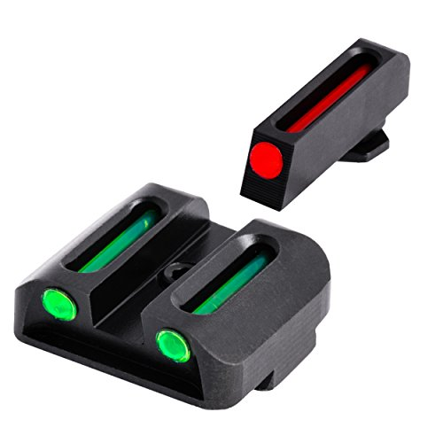 Truglo Fiber-Optic Front and Rear Handgun Sights for Glock Pistols, Glock 17   17L, 19, 22, 23, 24, 26, 27, 33, 34, 35, 38, and 39, Black, One Size (TG131G1)
