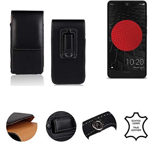 K-S-Trade® Holster Gürtel Tasche Für Sharp Aquos C10 Handy Hülle Leder Schwarz, 1x