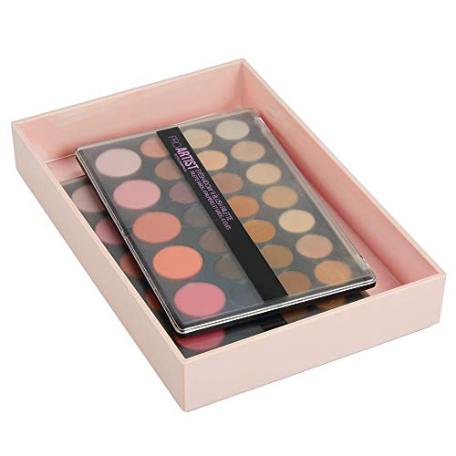 mDesign Kosmetikbox – stapelbare Make-up Aufbewahrung für das Bad oder den Schminktisch – Schminkaufbewahrung für Lippenstift, Concealer & Co. – hellrosa