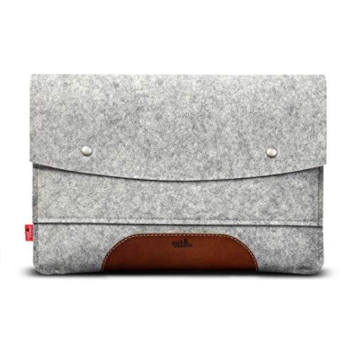 Pack und Smooch Für Surface Pro 7/6 Hülle 100prozent Wollfilz Und Pflanzlich Gegerbtes Leder Handmade in Germany - Grau Hellbraun