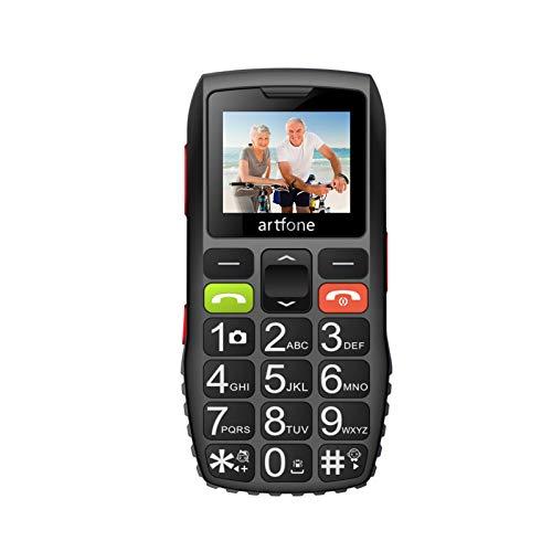 artfone Seniorenhandy ohne Vertrag | Dual SIM Handy mit Notruftaste | Rentner Handy große Tasten | 2G GSM Handy | Großtastenhandy mit Ladegerät und Kamera|1400 mAh Akku Lange Standby-Zeit