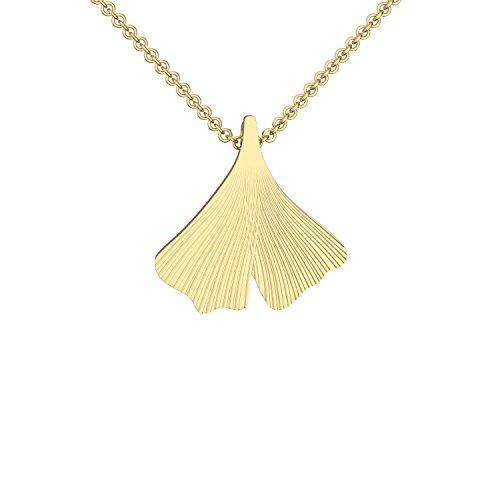 Ginkgoblatt Anhänger mit Halskette in Gold hochwertig vergoldet! *inkl. Luxus-Etui + * Kettenanhänger Damen Gingko Anhänger Ginko Blatt glänzend Kette Gelbgold FF156 VGGG45