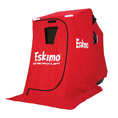 """Eskimo 15300 QuickFlip 1 Portable Flip Style Ice Fishing Shelter with 50"""" Sled & Tripod Chair, 1 Person"""
