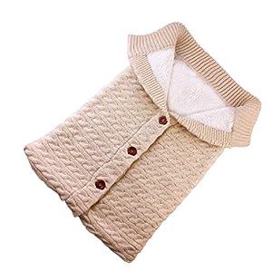 SOONHUA Bebé Recién Nacido Niñas Niños Envolver Manta Saco de Dormir Manta de Invierno Crochet de Punto Abrigo Cálido…