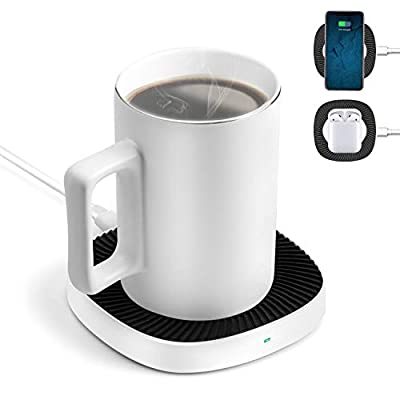 BiQeouc 2 in 1 Mug Warmer with Wireless Charger, 131? / 55? Constant Heating, 15W Qi Charging Pad for iPhone 11/11 Pro/11 Pro Max, Galaxy Note 10/10+, S10/S10+, AirPods and More (Mug Included)