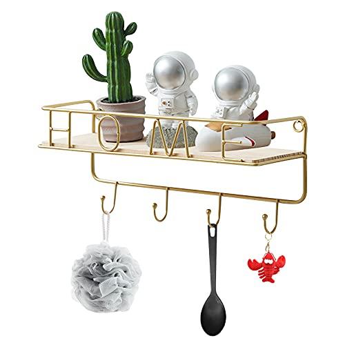 Colgador de llaves con estante para uso variado organizador de llaves en metal resistente Colgador Pared con balda metálica 4 ganchos con 2 clavos para hogar,oficina,pasillo,decoración cocina (dorado)