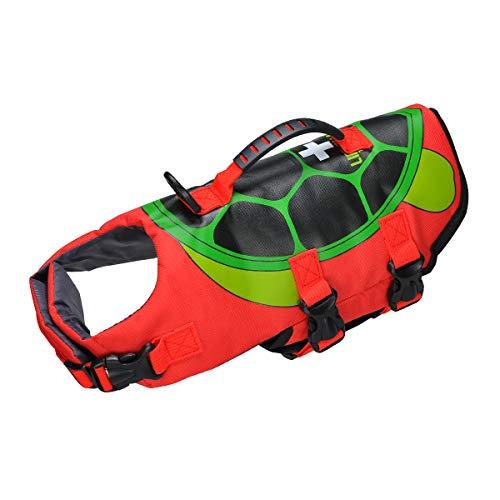 Schwimmweste für Hunde, Größe verstellbar, mit Griff für Schwimmen, Bootfahren, Jagd, Schildkröten-Stil (S)