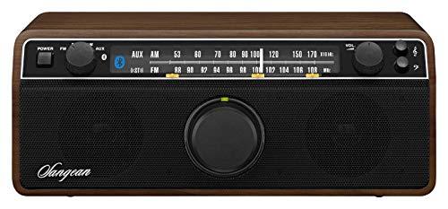 Sangean WR-12BT Bluetooth Radio (UKW/MW-Tuner, AUX-In, Kopfhöreranschluss, integrierter Subwoofer) dunkelbraun/schwarz