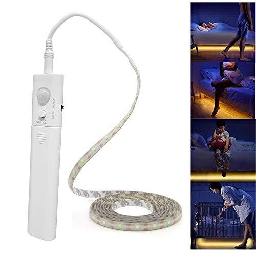 Tira de luces LED alimentada con pilas, sensor de movimiento, tiras de luz LED de luz nocturna inteligente activada por movimiento, tira de luz LED para habitación luz blanca fría, 5 m
