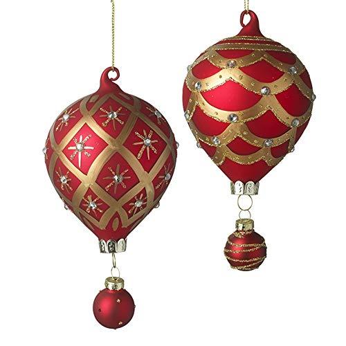 Heaven Sends set di 2–mongolfiera stile albero di Natale/decorazioni–rosso e oro