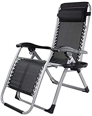 ANXIANG Sun Loungers Garden Chairs Comfortable Reclining Lawn Chair Foldable Beach Lounger Terrace Lounge Chairs Adjustable Zero Gravity Camping Chair Outside The Office, Black