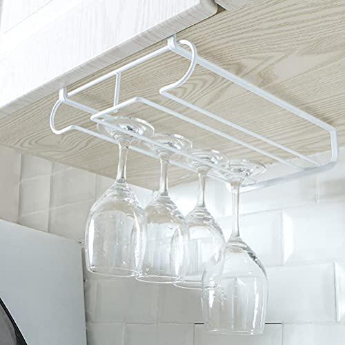 WWmily 1 pieza de vidrio de vino de metal percha rack gabinete vajillas debajo del gabinete de vidrio de vino estante de vasija de alambre de vino titular de almacenamiento colgador