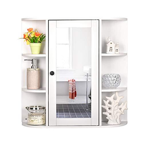 OKIDA Bathroom Wall Mounted Cabinet, Toilet Bathroom Spacesaver, Multipurpose Kitchen Medicine Storage Organizer with Single Mirror Door and Adjustable Shelf (White)