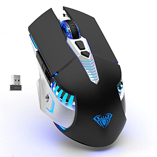 AULA SC200 Wireless Bluetooth Mouse Rechargeable, with Side Buttons, DPI Adjustable, RGB Backlit, Tri-Mode(BT5.0, BT3.0, 2.4G) Connect Gaming Mice for PC Mac Laptop, Desktop, Tablet, Cellphone (Black)