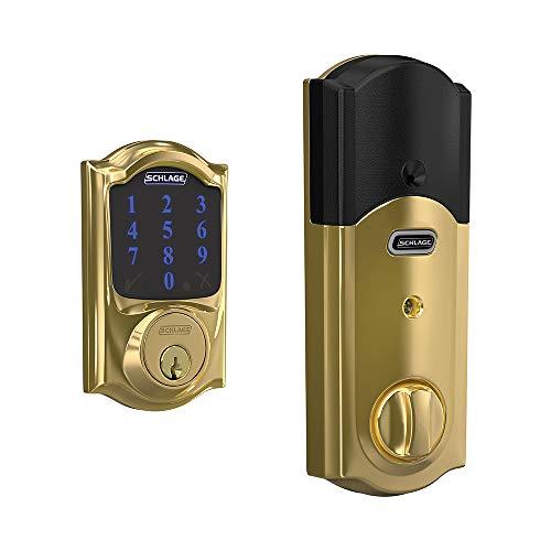 Schlage BE469ZP CAM 605 Connect Smart Deadbolt With Alarm Inbuilt Camelot Trim In Bright Brass