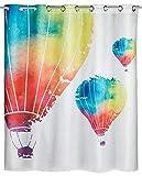 WENKO Anti-Schimmel Duschvorhang In the Air Flex - Anti-Bakteriell, wasserabweisend, Textil, waschbar, schimmelresistent mit integrierter Hängeeinrichtung, Polyester, 180 x 200 cm, Mehrfarbig
